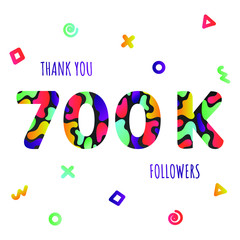 2c9b03e0793 Thank you 700000 followers numbers postcard. Congratulating gradient flat  style 700k thanks image vector illustration