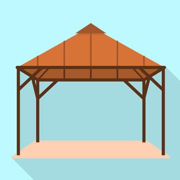 Wood gazebo icon. Flat illustration of wood gazebo vector icon for web design