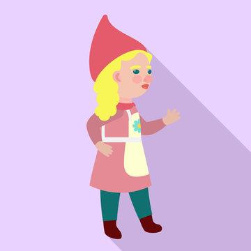 Woman dwarf icon. Flat illustration of woman dwarf vector icon for web design