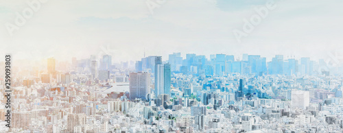 Fototapete panoramic modern city skyline mix sketch effect