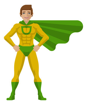 A superhero cartoon mascot man in his green and yellow super hero costume compete with cape in a flat modern cartoon style