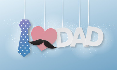 i love dad,text flying paper cut,father's day