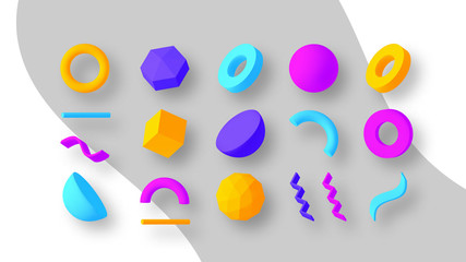 Obraz Set of colorful geometric shapes. Elements for design. Isolated vector objects. - fototapety do salonu