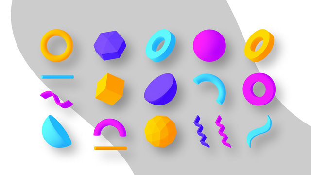 Set of colorful geometric shapes. Elements for design. Isolated vector objects.