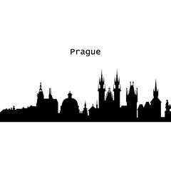 Deurstickers Prague art design concept. Flat vector illustration.