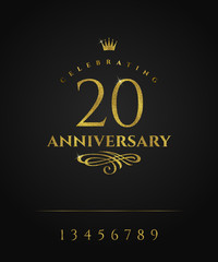 Glitter gold anniversary golden logo with crown and flourishes element. There is additional elements for compilation any dates. Vector illustration.