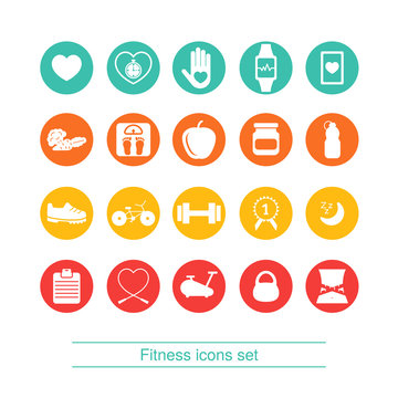 Fitness, healthy lifestyle icon set