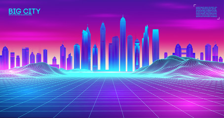 Retro wave background80s. City80s future retro synth illustration. Beach poster futuristic background. Retro laser city cyber concept. Futuristic city with purple night sky sunset. Party vector neon