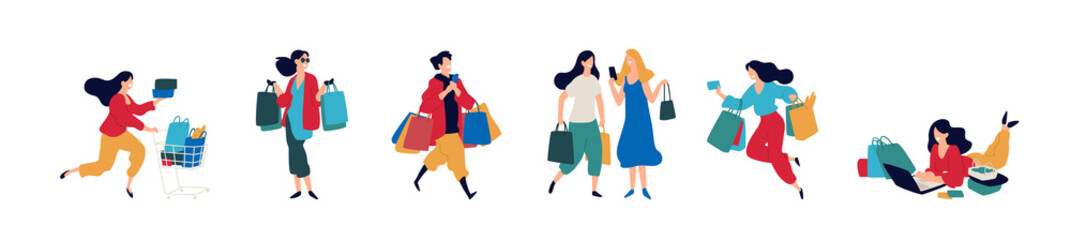 Illustration of people with purchases.  Men and women who bought goods. Discounts and sales in retail networks. Flat cartoon style. Black Friday. Shopping on the Internet. Order and delivery.