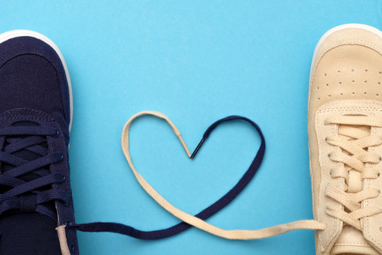 New sneakers laces are in the form of heart.