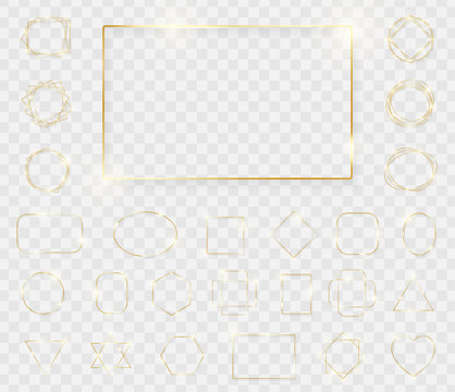 Mega pack of gold shiny glowing frames isolated on transparent background. Pack of luxury realistic square, rectangle, round, oval, triangle borders. Decorative golden luxury line borders. Vector