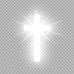 Shining white cross isolated on transparent background. Riligious symbol. Glowing Saint cross. Easter and Christmas sign. Vector illustration