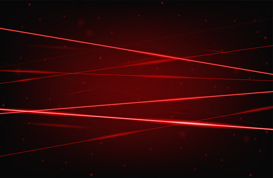 Red realistic laser beam background. Laser rays iolated on black background. Modern style abstract. Bright shiny lasers pattern. Vector illustration
