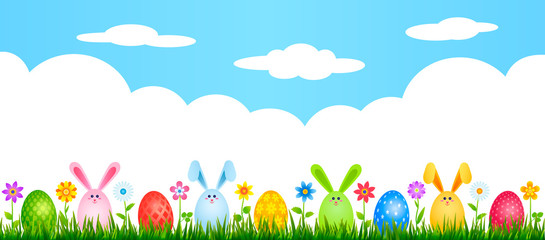 funny easter bunnies eggs on green grass with flowers. easter and spring concept. vector illustration