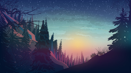 Sunset in the mountains with pine forest, spring landscape.