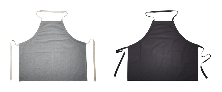 Black and gray apron for kitchen top view. Isolated on white background.
