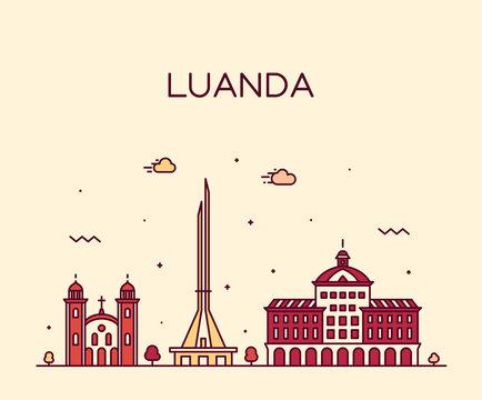 Luanda skyline Angola vector city linear style