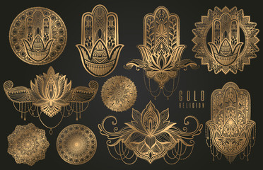 Set of religious Buddhism oriental elements of gold color. Hamsa talisman,mandala,lotus flower. Gold gradient element in black background.