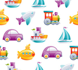 Cartoon toy transport seamless pattern. Cute 3d boy style. Boat, car, airplane, yellow submarine, sail ship, train, rocket wallpaper design. Flat vector illustration isolated on white background.