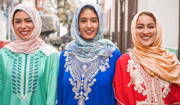 Portrait of arabian girls outdoor in city street