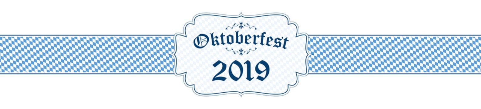 Oktoberfest banner with text Oktoberfest 2019