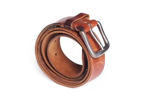 Stylish leather belt isolated on white background