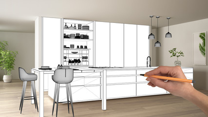 Unfinished project, under construction draft, concept interior design sketch, hand drawing modern kitchen blueprint sketch in real home background, architect and designer idea
