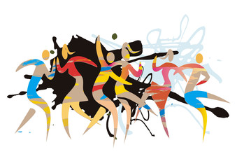 Wild disco party, modern dance.  Expressive, abstract  stylized illustration of dancing people. Isolated on white background. Vector available.