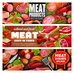 Butcher shop meat and sausages food products