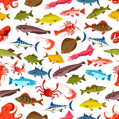 Fish seamless pattern, ocean seafood background