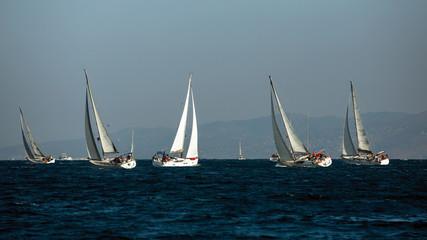 Wall Mural - Sailing yacht boats regatta at the Aegean Sea near Greece coasts.