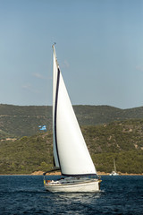 Wall Mural - Greece sailing yacht boat at Aegean Sea - Luxury cruise yachting.