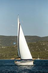 Fototapete - Greece sailing yacht boat at Aegean Sea - Luxury cruise yachting.