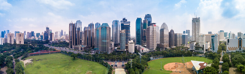 Panorama Drone Shot of the Sudirman Central Business District in Jakarta, Indonesia Papier Peint