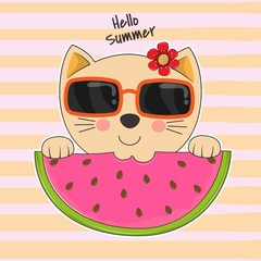 Adorable little cat in sunglasses eating watermelon. Hello summer.