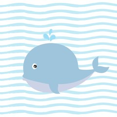 Greeting card with charming whale on background with blue stripes.