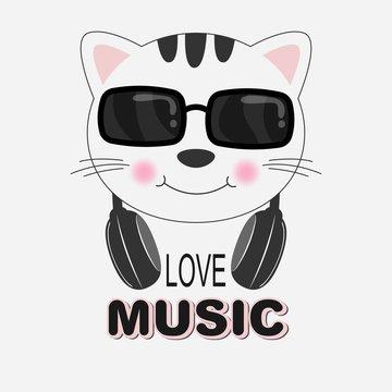 Beautiful cat in sunglasses love music. Greeting card.