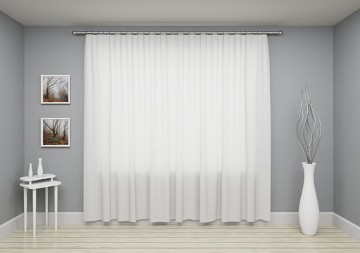 Grey interior  living room with window and curtain decoration on wall - template for your design.