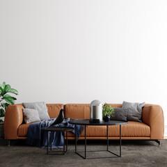 Scandinavian Interior Background Mockup, 3d Render