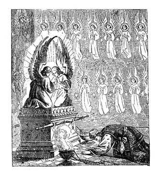 Vintage Drawing of Biblical Story of Israelites Creating the Tabernacle or Tent of the Congregation, Moses is Praying to Ark of Covenant