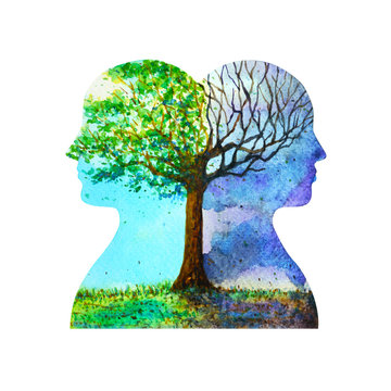 human head chakra powerful inspiration tree abstract thinking inside your mind watercolor painting illustration hand drawn