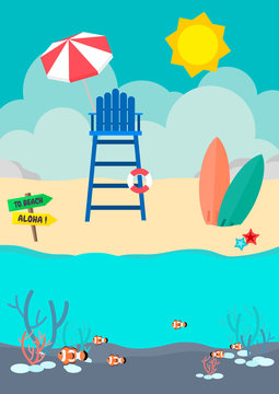 Beach lifeguard stand and surfboard on the beach with clownfish in the sea