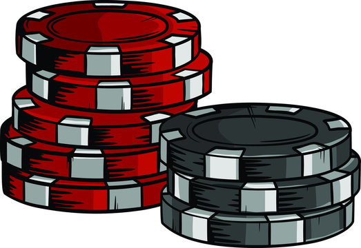 Two piles of poker chips of different values in vector format. Hand drawn casino cips with cartoon design.