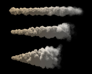 Stream of smoke set. Isolated on black background. 3D rendering.