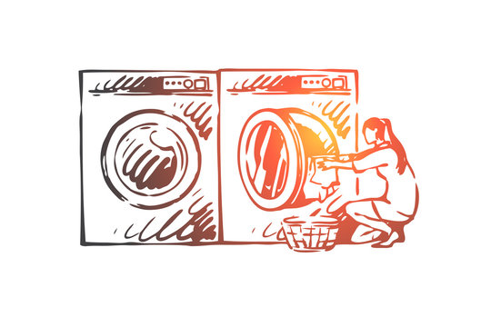 Home, work, washing, machine, woman concept. Hand drawn isolated vector.