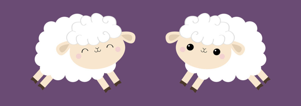 Sheep lamb icon set. Cloud shape. Jumping animal. Cute cartoon kawaii funny smiling baby character. Nursery decoration. Sweet dreams. kids print. Flat design. Violet background. Isolated.