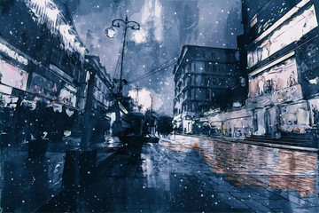 Digital painting of buildings in dark tone, city in night time with walking people