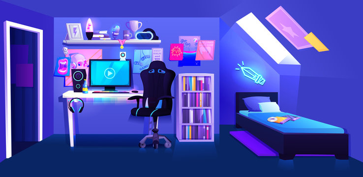 Gamer boy room on attic interior banner. Workplace cyber sportsman gamer. A desk with a computer and headphones and a mouse with light and a gamers chair. Vector cartoon illustration