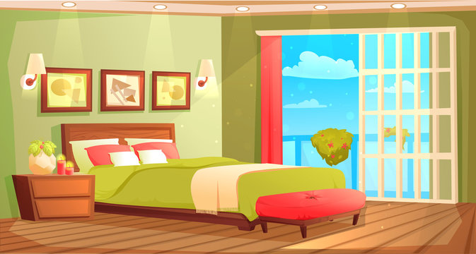 Bedroom interior with a bed, nightstand, wardrobe and window and plant. Vector cartoon illustration