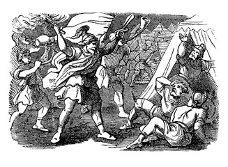 Vintage Drawing of Biblical Story of Israelites Under the Lead of Gideon Are Attacking Camp of Midianites.